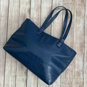 Blue Faux Textured Leather Tote Bag